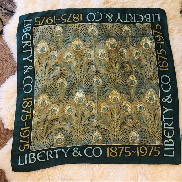 c5cd96d9bb6af Liberty of London Accessories - Liberty London hera silk scarf peacock  feather vtg